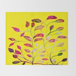 Red and Green Leaves! Yellow Sunshine! Throw Blanket