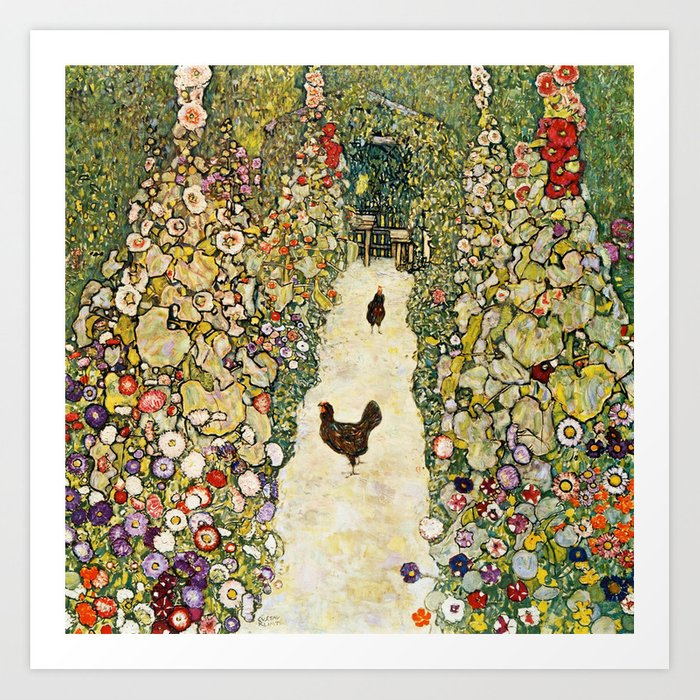 Gustav Klimt Garden Path With Chickens Kunstdrucke