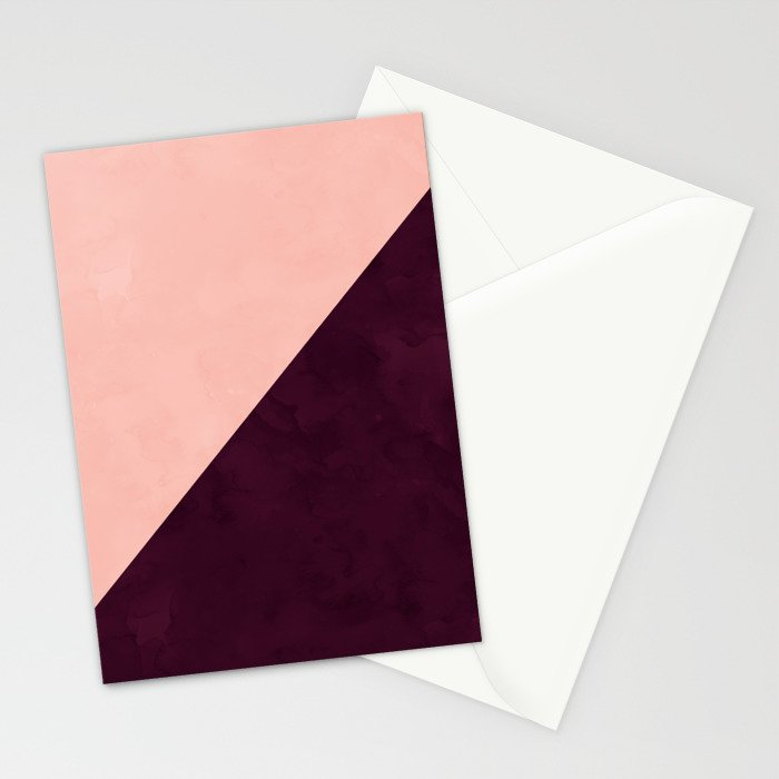 Modern blush pink burgundy watercolor color block geometric Stationery Cards