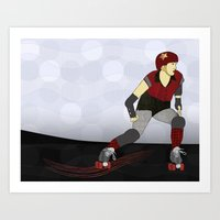 roller derby Art Prints featuring Roller Derby by Aquamarine Studio