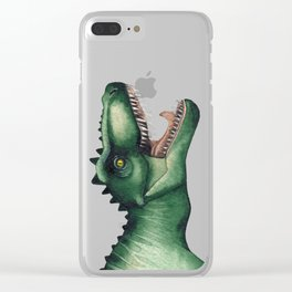 Realistic watercolor dinosaur Clear iPhone Case