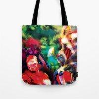 avenger Tote Bags featuring Color Avenger! by Jesus De La Mora
