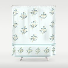 Blue anchor and flowers Shower Curtain