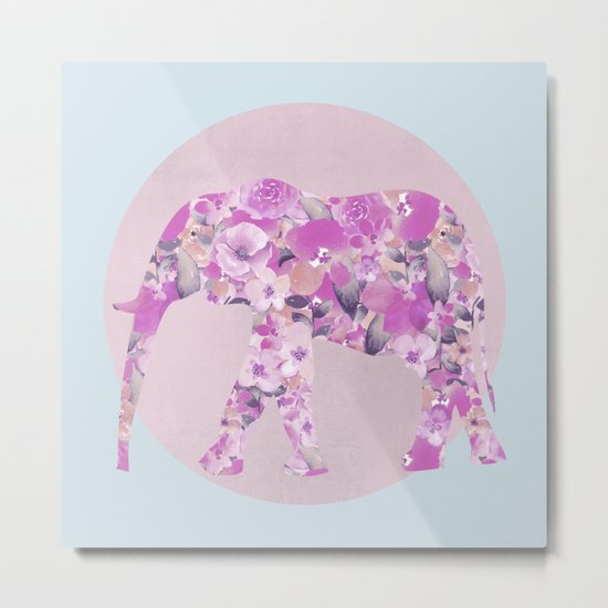 Floral Elephant and circle pastel blue pink colors Metal Print