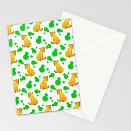 Little bears. Cute adorable funny baby bear cubs bold green retro dots white seamless pattern Stationery Cards