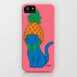 Blue Cat Wears Pineapple Hat iPhone Case