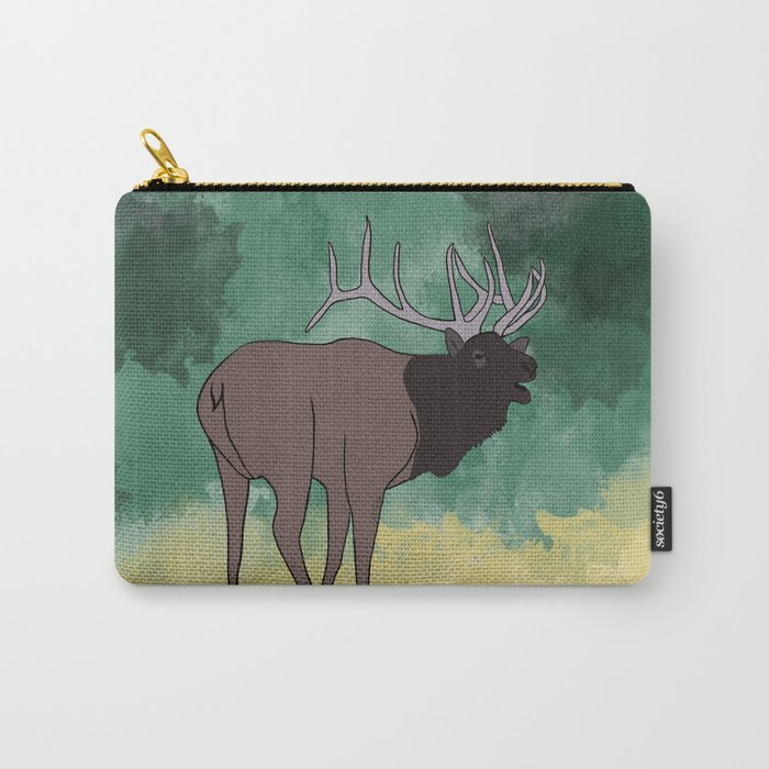 Bull Elk Bugling Carry-All Pouch