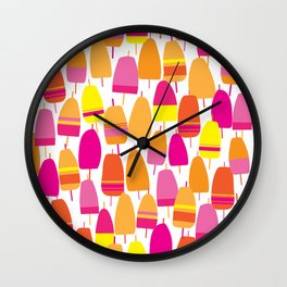 Pink Lobster Buoy Pattern Wall Clock
