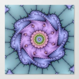Magical zoomed fractal image in shiny pastel colours Canvas Print