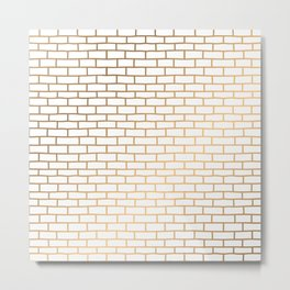 Light and gold brick wall pattern. Metal Print