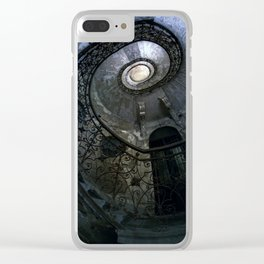 Spiral Staircase in blue and gray tones Clear iPhone Case