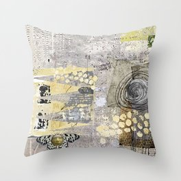 Grey Day Abstract Art Collage Throw Pillow