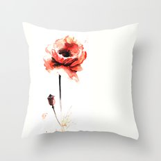 watercolor poppy Throw Pillow