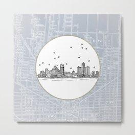 Detroit, Michigan City Skyline Illustration Drawing Metal Print