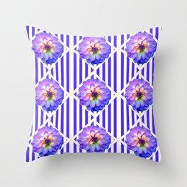 STRIPED PURPLE PATTERNED LILAC PURPLE-WHITE DAHLIA GARDEN  FLOWERS GARDEN ART Throw Pillow