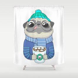 Pug with coffee Shower Curtain