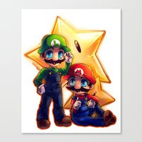 mario bros Canvas Prints featuring Mario Bros. by StephanieIllustrations