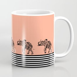 ELEPHANT & STRIPES CORAL Coffee Mug