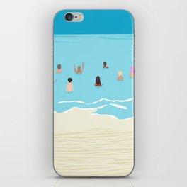 Stoked - memphis throwback retro neon pop art illustration socal cali beach surfing swimming sea iPhone Skin