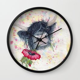Missing MacKenzie McMoo by Fiona Bárcenas Wall Clock