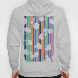 Flowers and a multicolored stripe Hoody