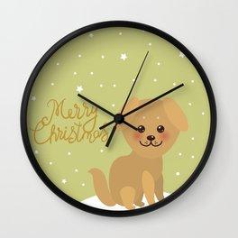Merry Christmas New Year's card design Kawaii funny golden beige dog Wall Clock