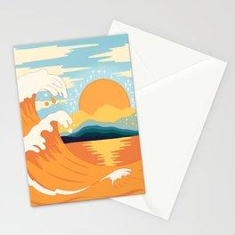 Orange wave Stationery Cards
