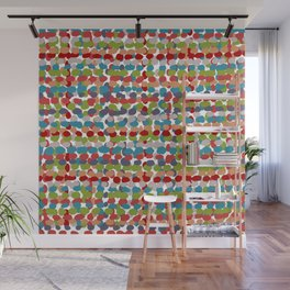 Speckled, Colorful Abstract Dot Pattern, Red, Blue, Green, Orange Wall Mural