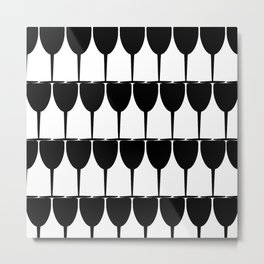 Vino - Black on White Metal Print