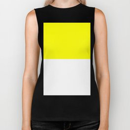 White and Yellow Horizontal Halves Biker Tank
