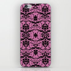Black Damask and Pink Glitters iPhone & iPod Skin