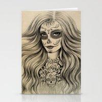 sugar skull Stationery Cards featuring Sugar Skull by Vivian Lau