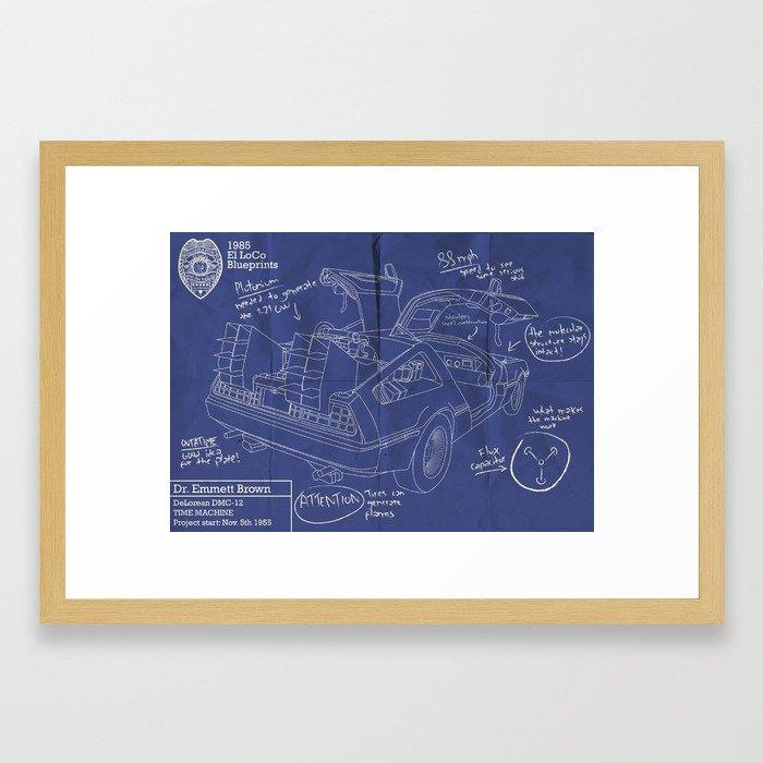 Time machine blueprint framed art print by elloco society6 malvernweather Images