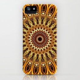 Golden and brown floral mandala iPhone Case