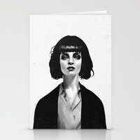 wall clock Stationery Cards featuring Mrs Mia Wallace by Ruben Ireland