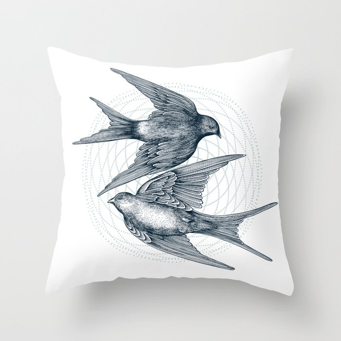 Two Swallows Throw Pillow