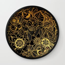 Floral Doodle Gold G523 Wall Clock