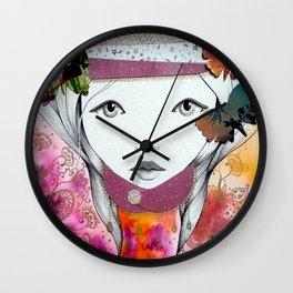 """""""Jeune fille aux papillons"""" Wall Clock"""