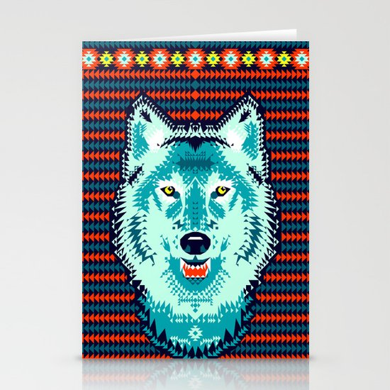 Geometric Wolf  Stationery Cards
