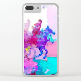 poloplayer abstract redblue Clear iPhone Case