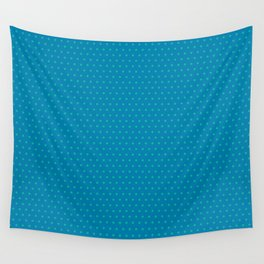 Blue and Teal Poka Dots Design Wall Tapestry