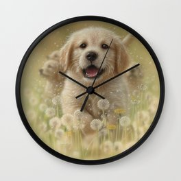 Golden Retriever Puppy - Dandelions Wall Clock