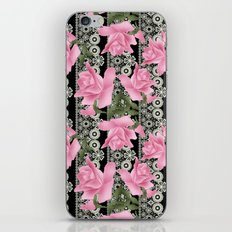 Gentle roses on a lace background. iPhone & iPod Skin