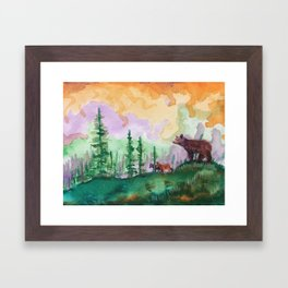 Black Bear and Cubs in Pine Forest Framed Art Print