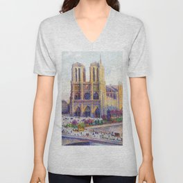 Quai Saint-Michel and Notre-Dame Paris landscape painting by Maximilien Luce Unisex V-Neck