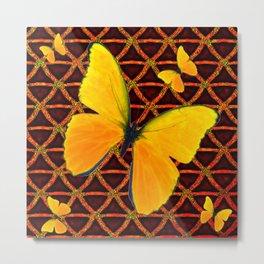 YELLOW BUTTERFLIES BROWN ART Metal Print