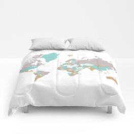 Green, grey and brown world map with states & countries Comforters