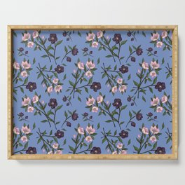 Hellebores on Blue Serving Tray