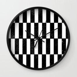 Minimal linocut black and white geometric pattern basic lines stripes Wall Clock