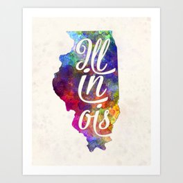 Illinois US State in watercolor text cut out Art Print